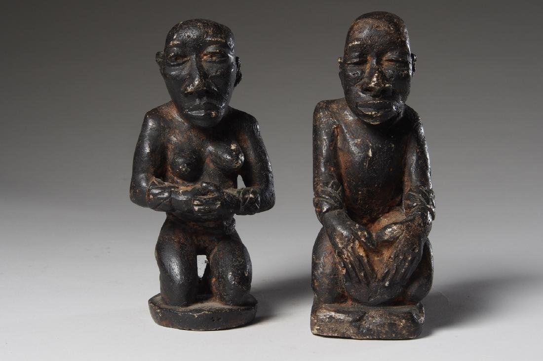 Seated Steatite Kongo Couple Tribal Art