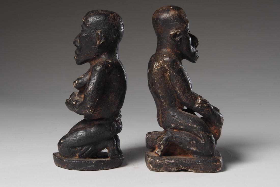 Seated Steatite Kongo Couple Tribal Art - 4