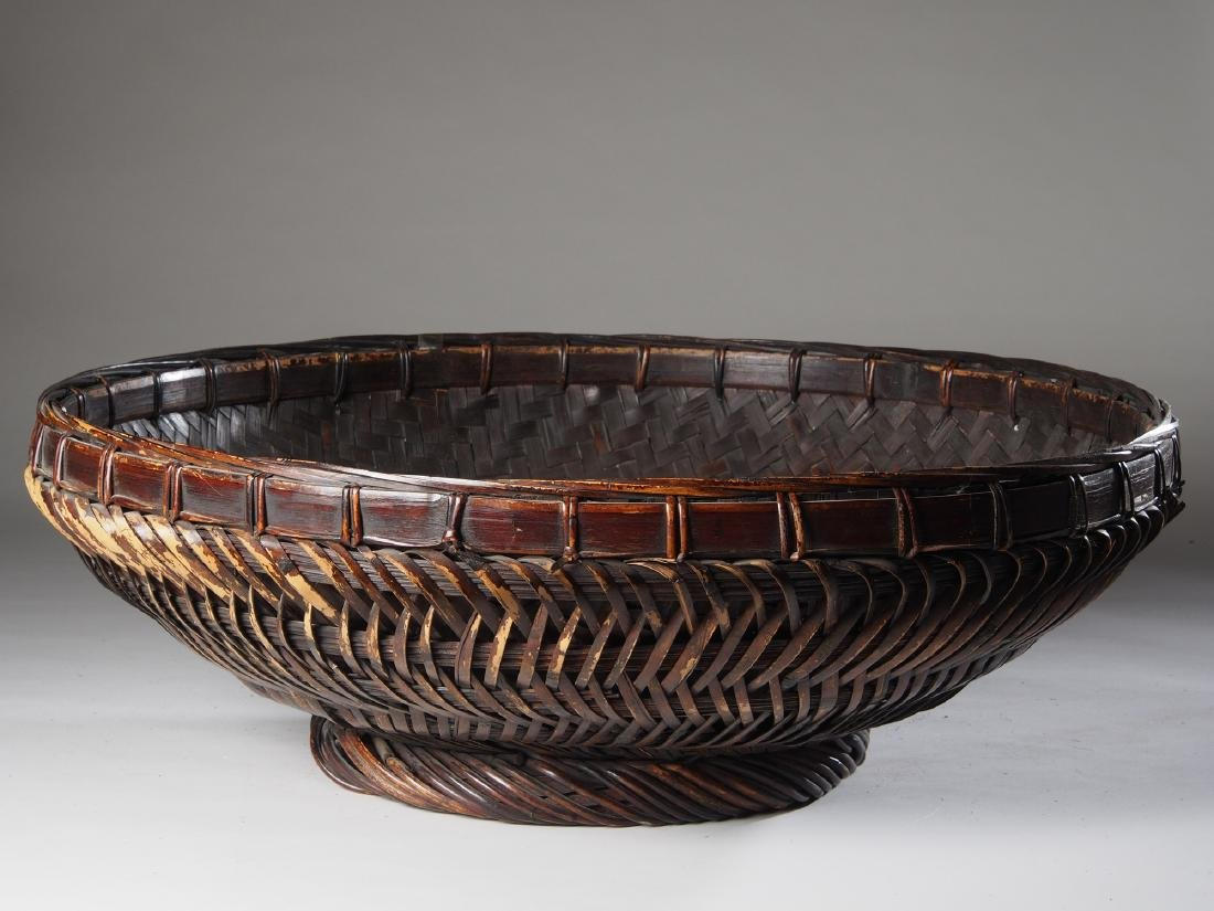 Large Hand woven Sukotai Basket Tribal Art