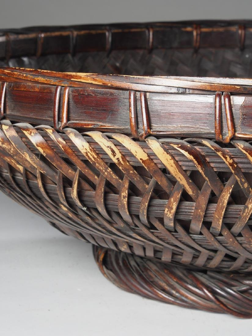 Large Hand woven Sukotai Basket Tribal Art - 4