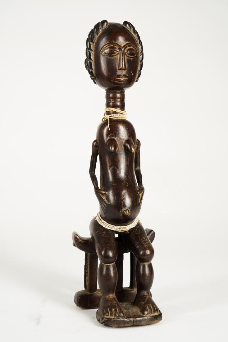 Baule Seated Pregnant Female Figure Tribal Art