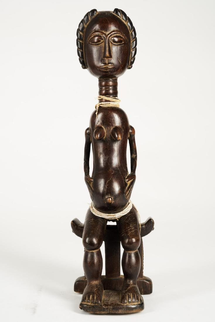Baule Seated Pregnant Female Figure Tribal Art - 2