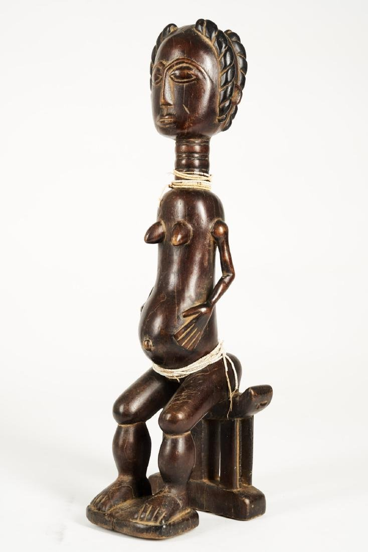 Baule Seated Pregnant Female Figure Tribal Art - 3
