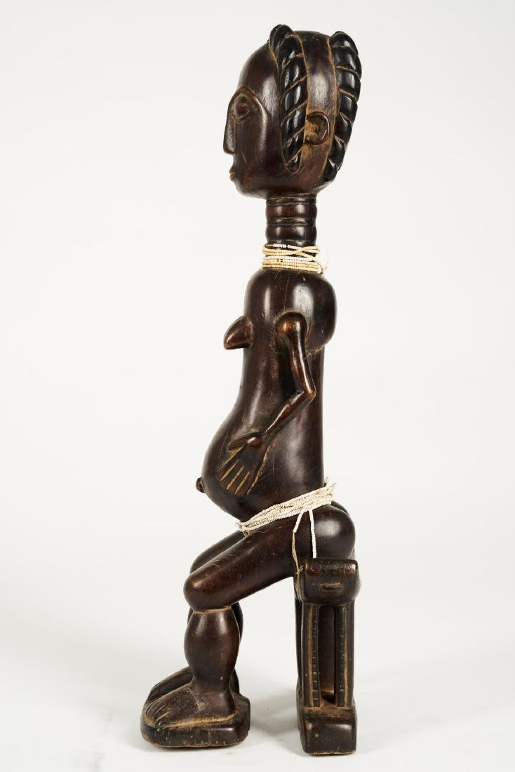 Baule Seated Pregnant Female Figure Tribal Art - 4