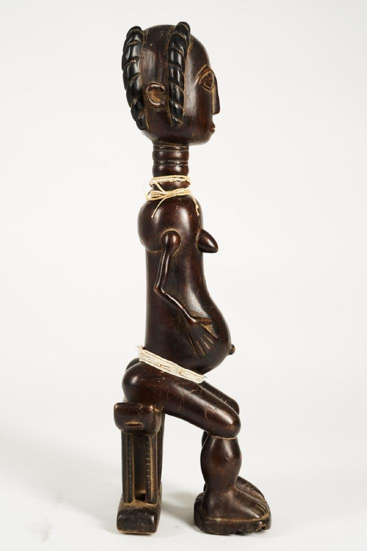 Baule Seated Pregnant Female Figure Tribal Art - 8