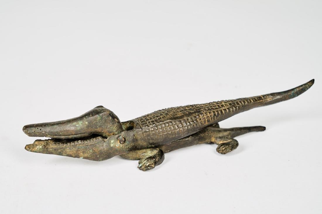Senufo Bronze Crocodile Figure Tribal Art