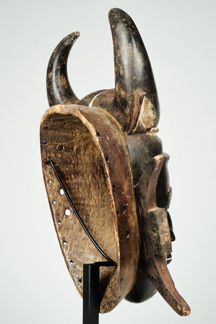 A Jimini mask with large buffalo horns Tribal Art - 7
