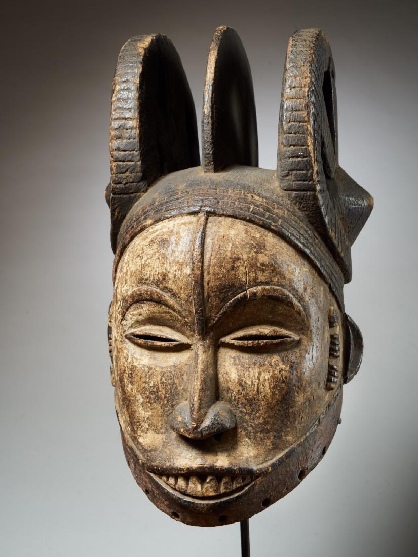 Ibo White Helmet Mask with Keloids Tribal Art