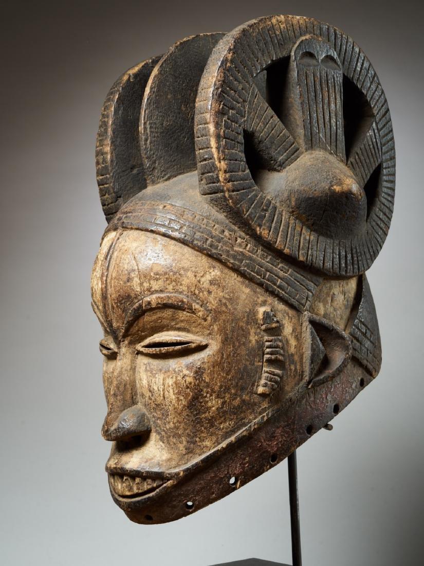 Ibo White Helmet Mask with Keloids Tribal Art - 2