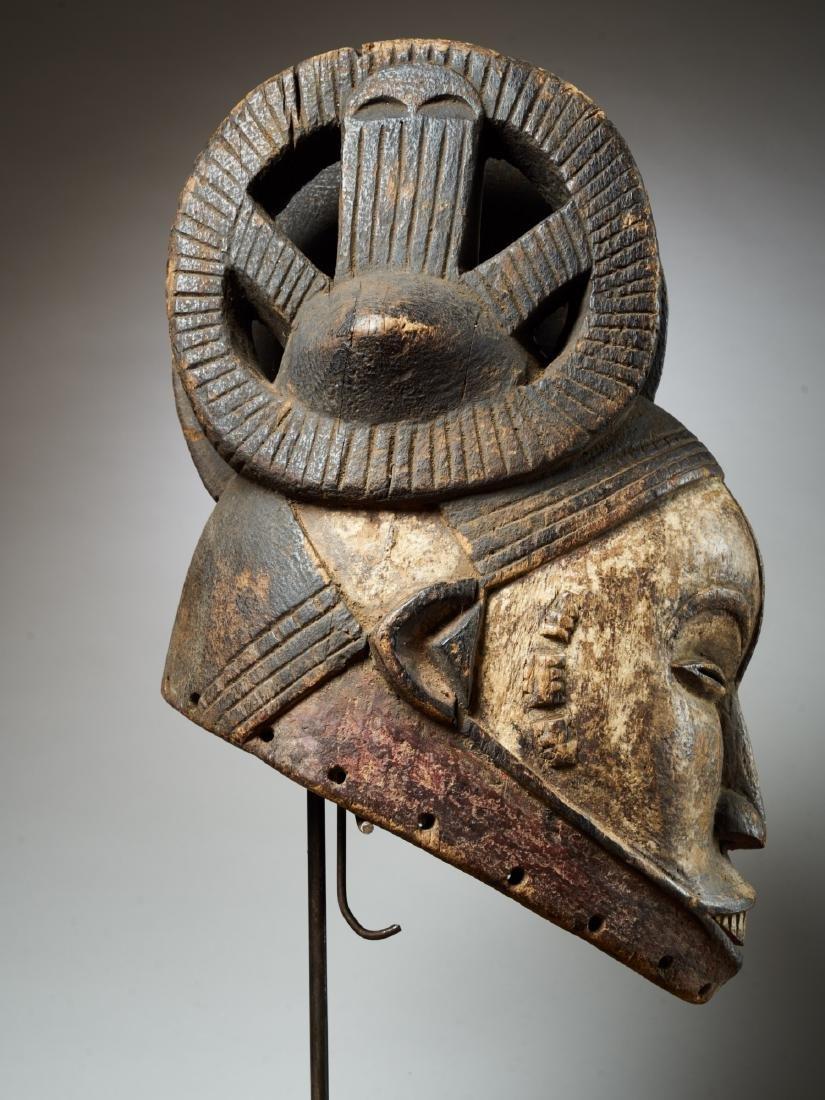 Ibo White Helmet Mask with Keloids Tribal Art - 6