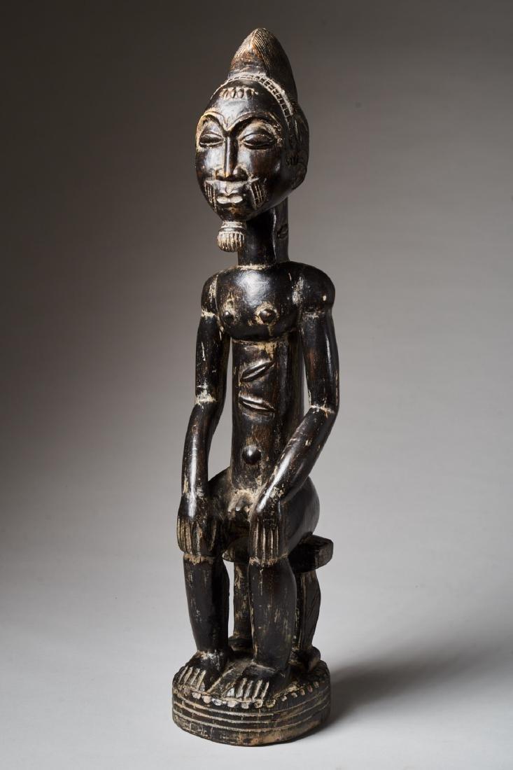 A Baule Sitting Male Figure Tribal Art