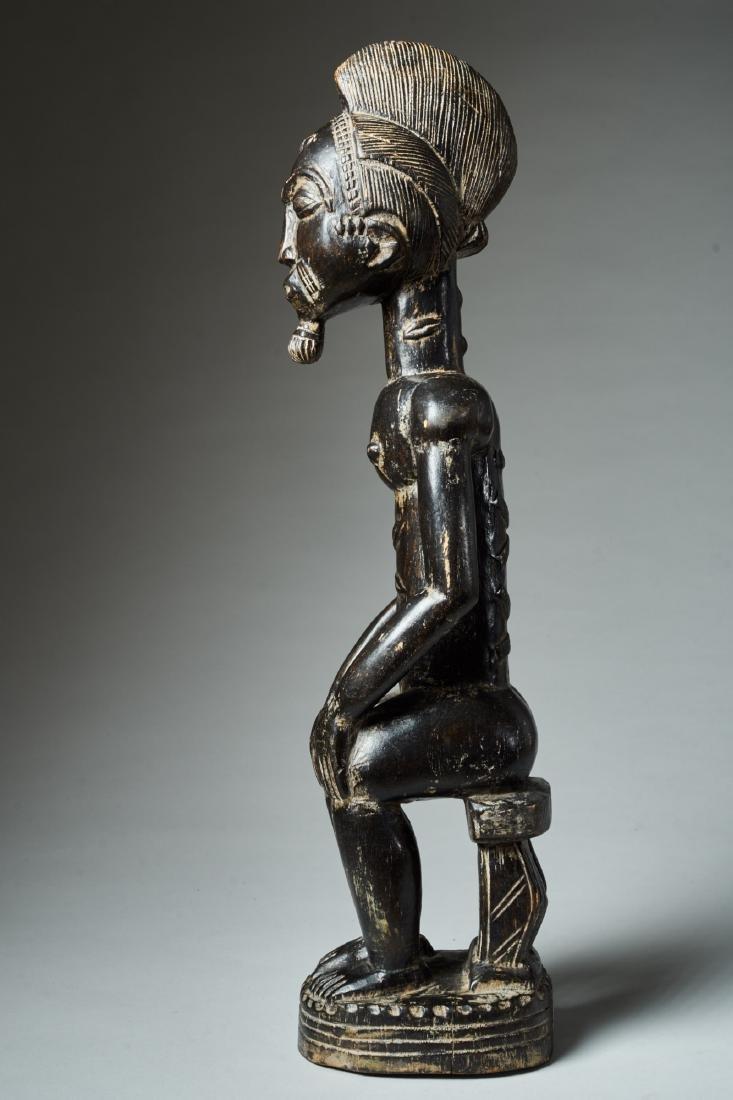 A Baule Sitting Male Figure Tribal Art - 3