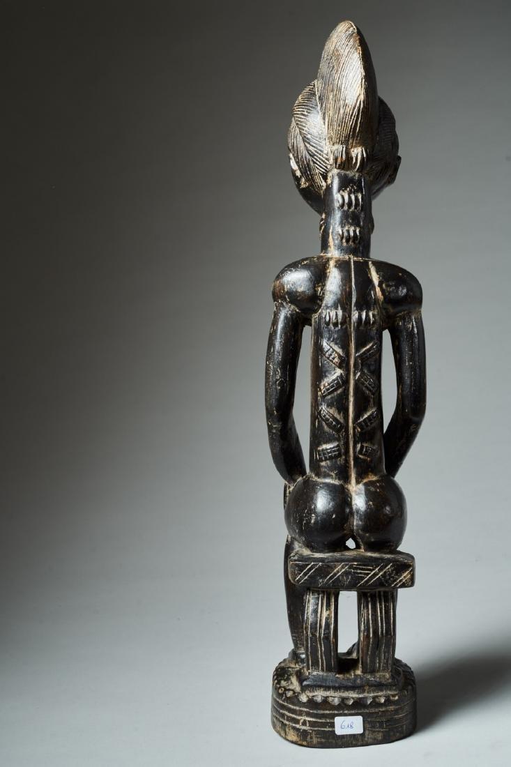 A Baule Sitting Male Figure Tribal Art - 4