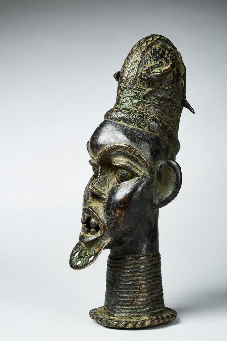 Commemorative Bronze Nigerian Head Tribal Art - 3