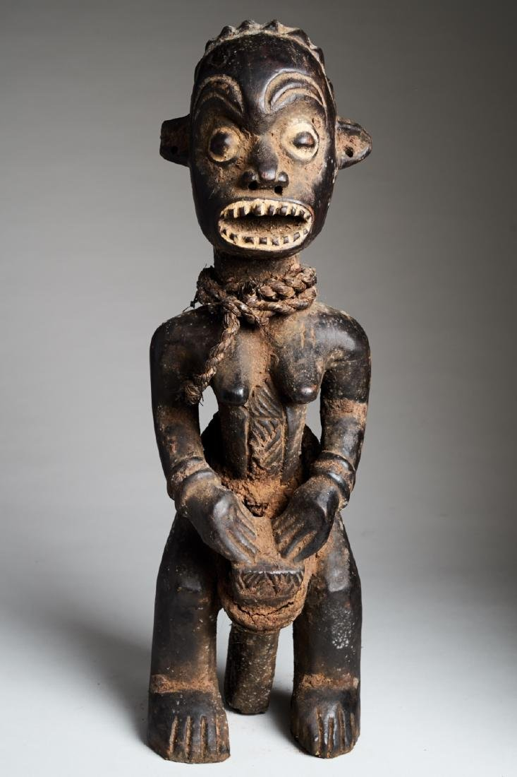 African Female Statue playing Drums Tribal Art