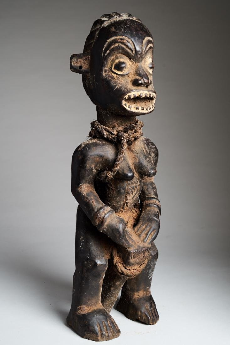 African Female Statue playing Drums Tribal Art - 2