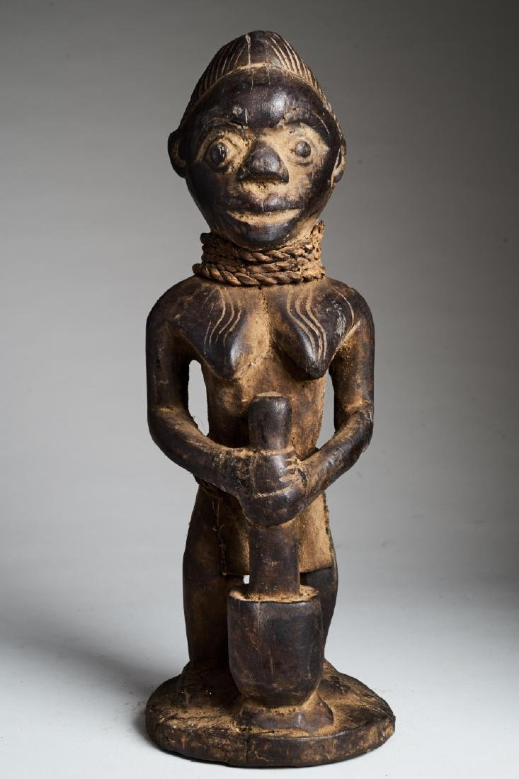African Female Statue Pounding Food Tribal Art