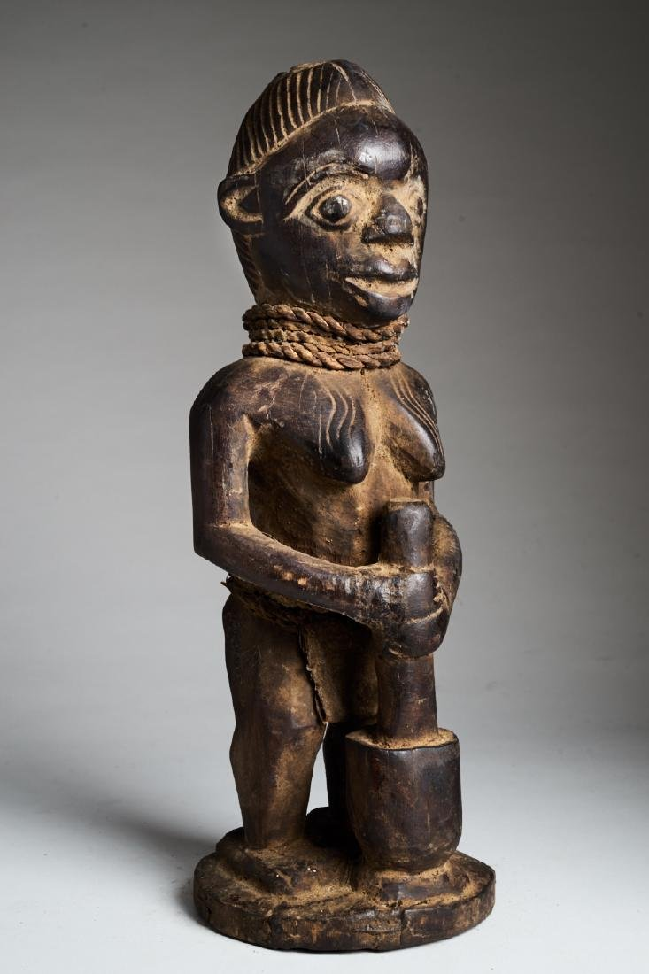 African Female Statue Pounding Food Tribal Art - 2