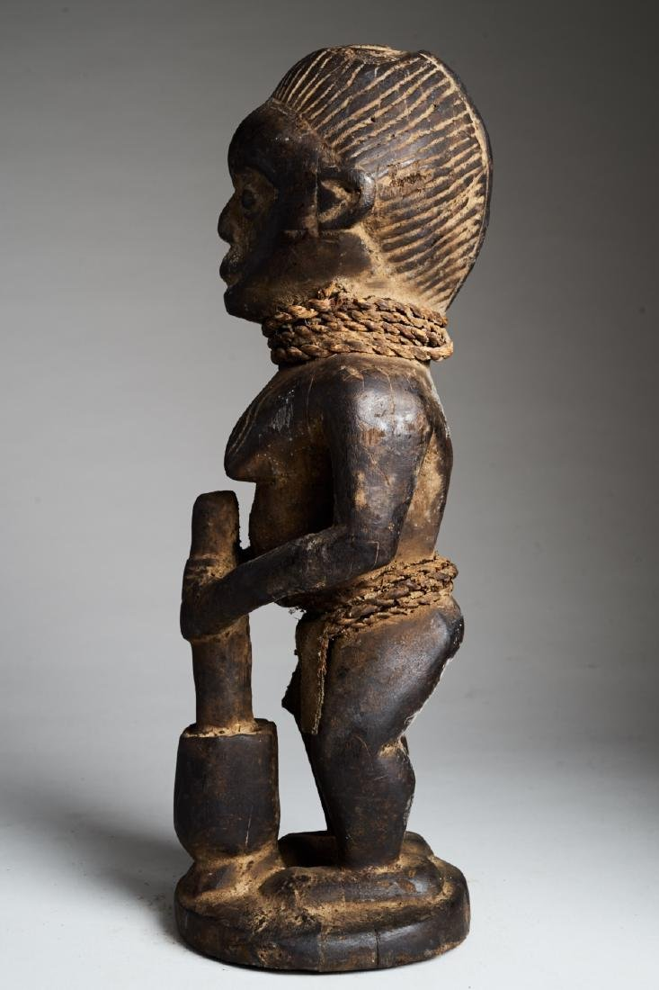 African Female Statue Pounding Food Tribal Art - 5