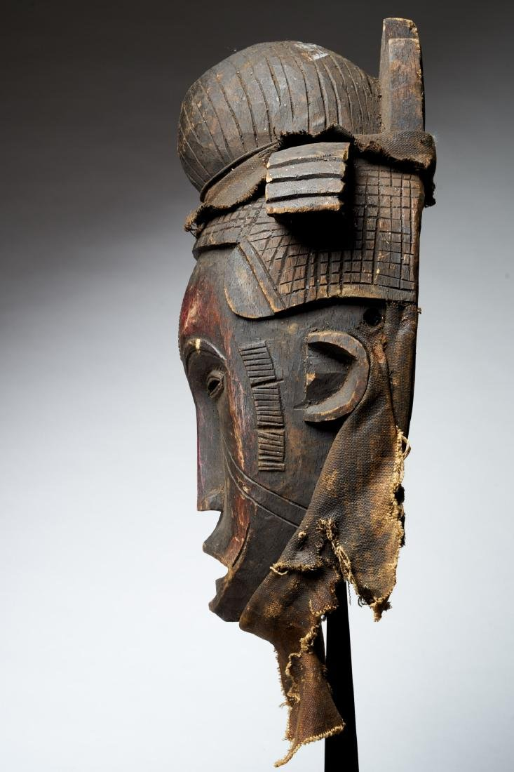 Nigerian Facemask with Nose Scarifications Tribal Art - 3