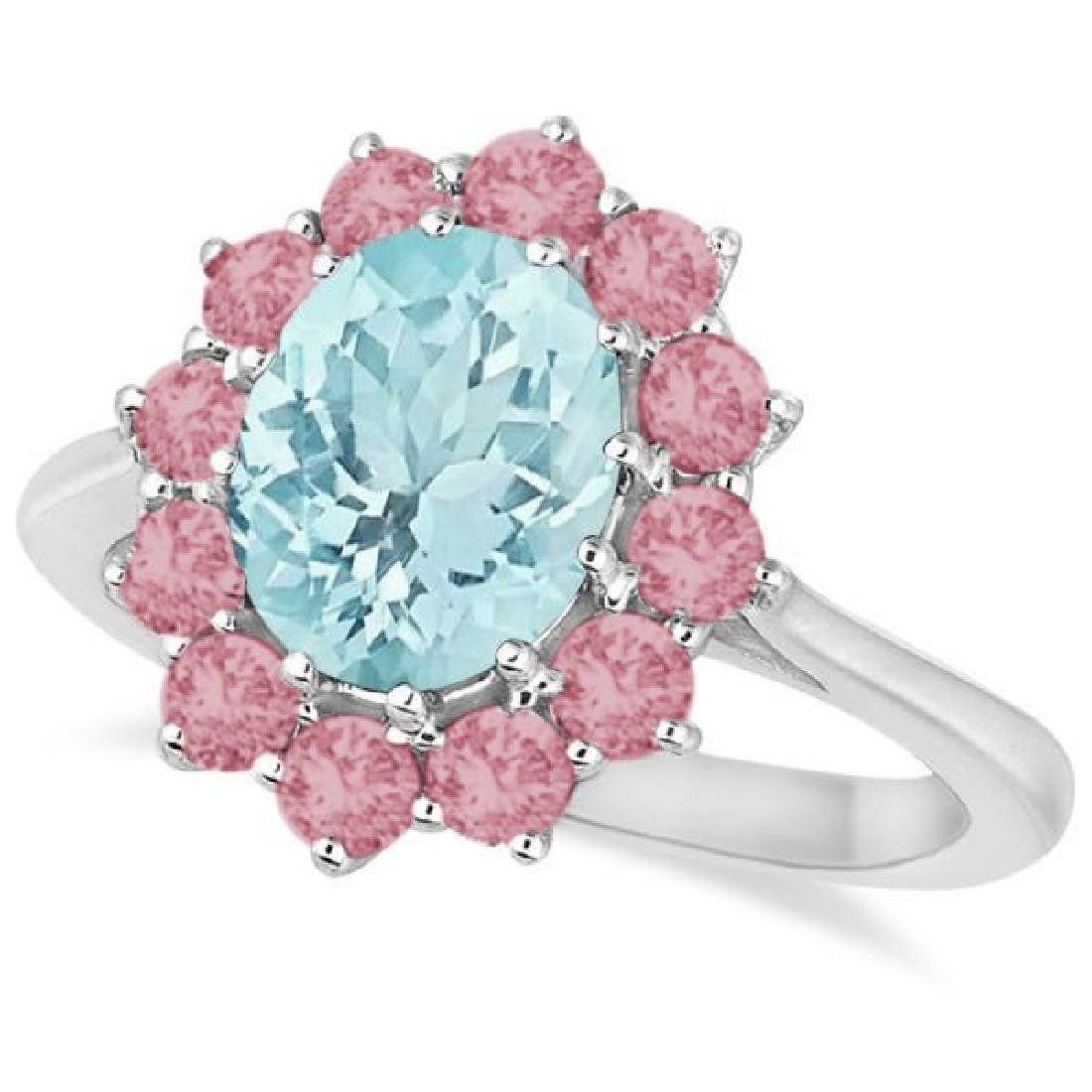 Oval Aquamarine and Pink Tourmaline Accented Ring in 14