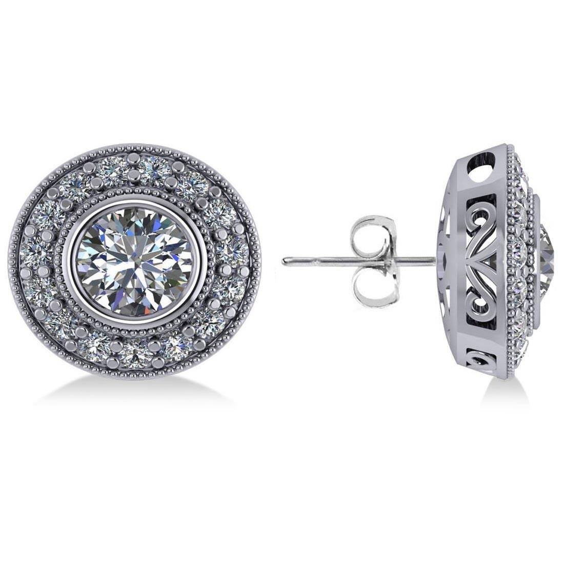 CERTIFIED 1.8 CTW D/SI1 ROUND DIAMOND HALO STUD EARRING