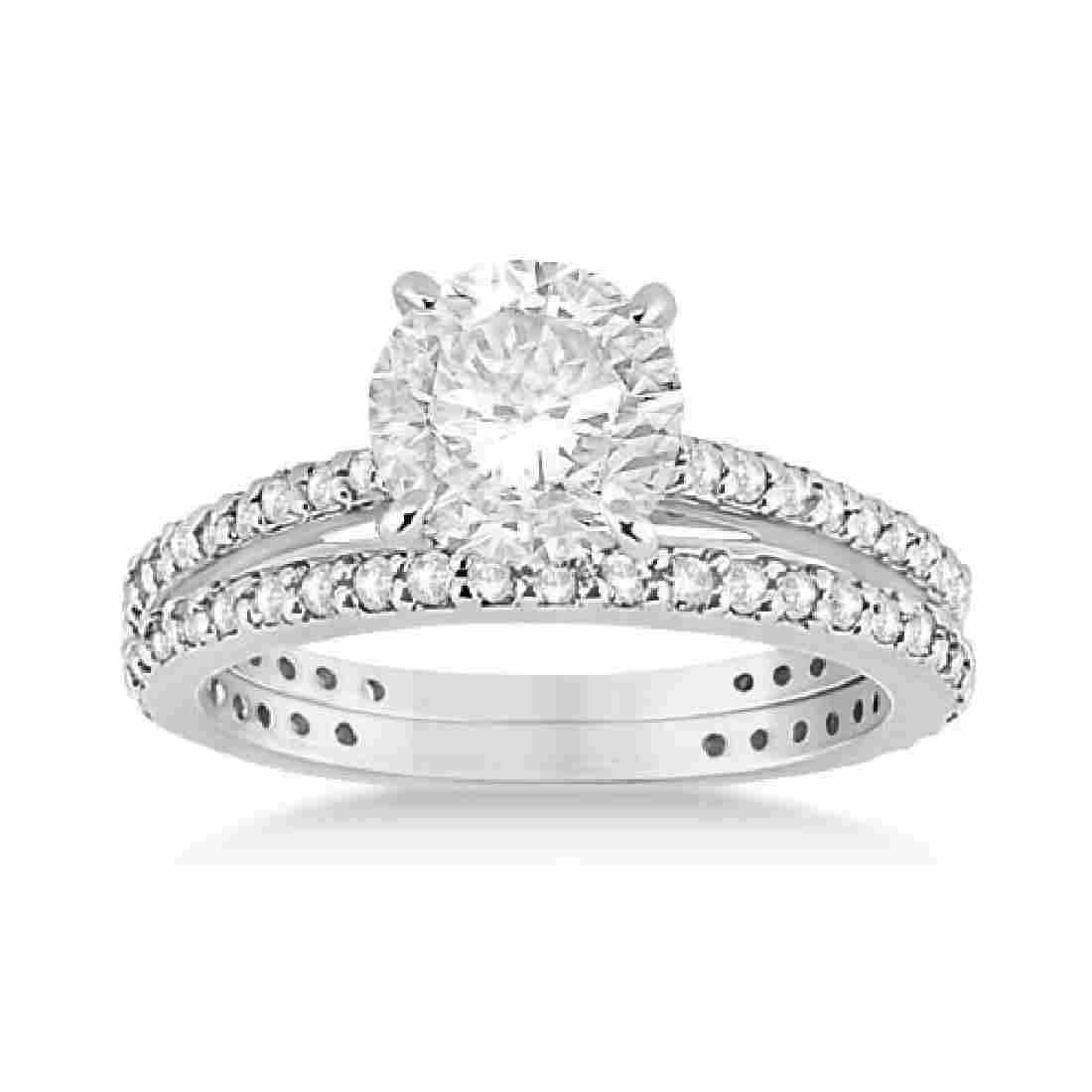 Eternity Diamond Engagement Ring and Band Set Platinum