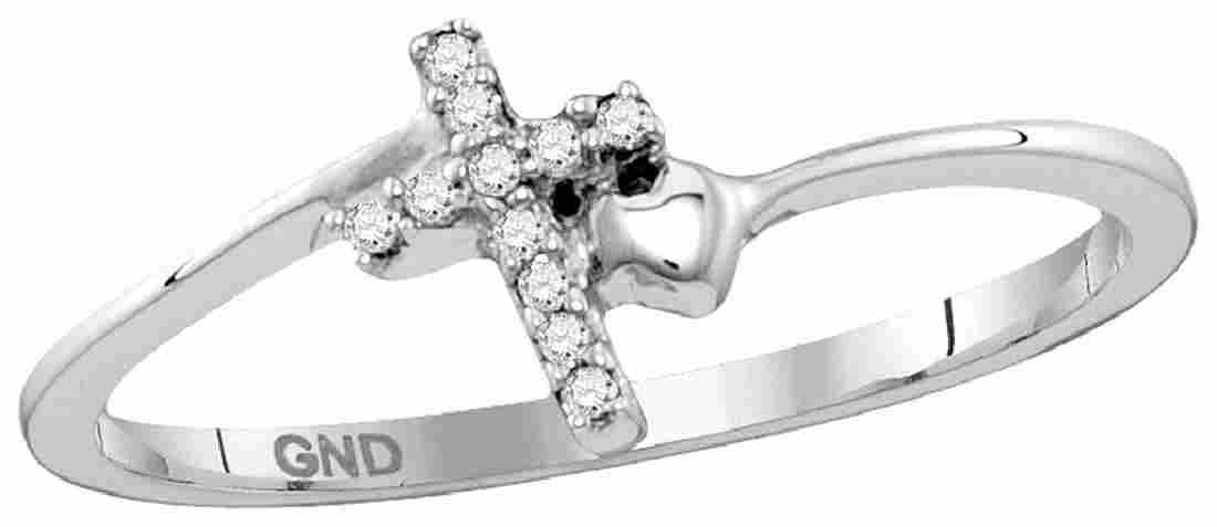 Sterling Silver Womens Round Diamond Delicate Slender C