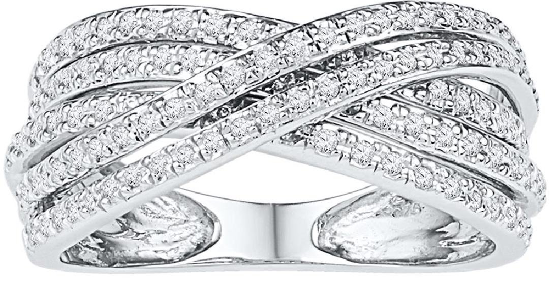 10kt White Gold Womens Round Diamond Crossover Five Row