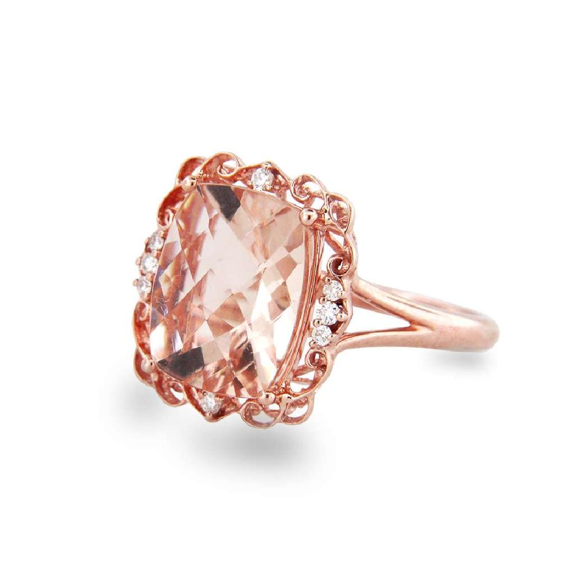 4.12cttw Morganite and Diamond Ring in 14k Rose Gold