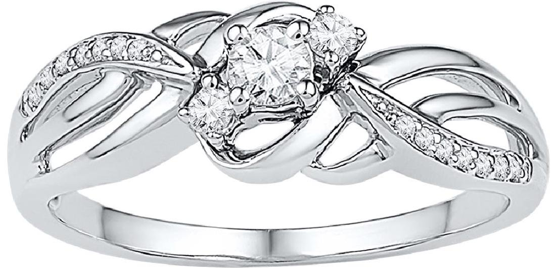 10kt White Gold Womens Round Diamond 3-stone Bridal Wed