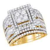 14kt Yellow Gold Womens Round Diamond Square Cluster Br