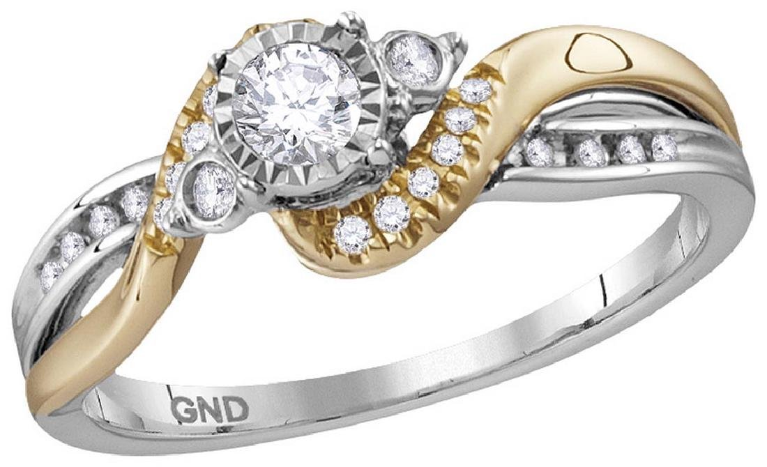 14kt White Two-tone Gold Womens Round Diamond Solitaire