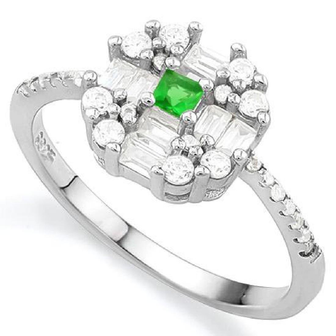 CREATED EMERALD925 STERLING SILVER HALO RING