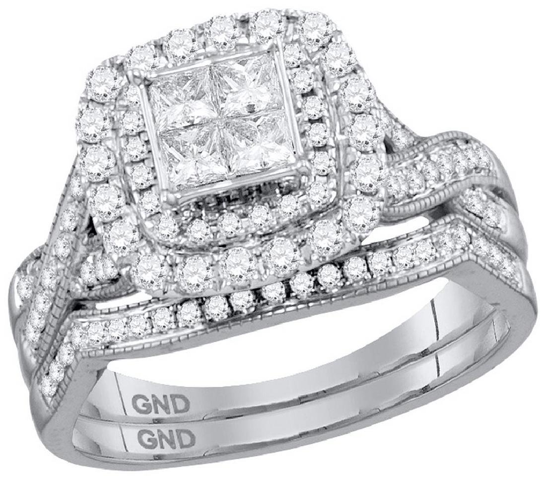 14kt White Gold Womens Princess Diamond Cluster Halo Br