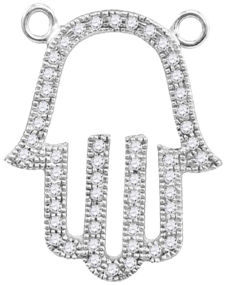 10kt White Gold Womens Round Diamond Hamsa Hand Outline