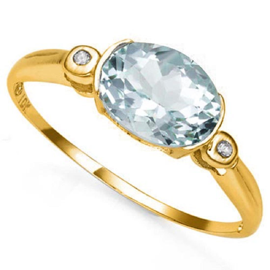 0.95 CTW AQUAMARINE & GENUINE DIAMOND 10K SOLID YELLOW