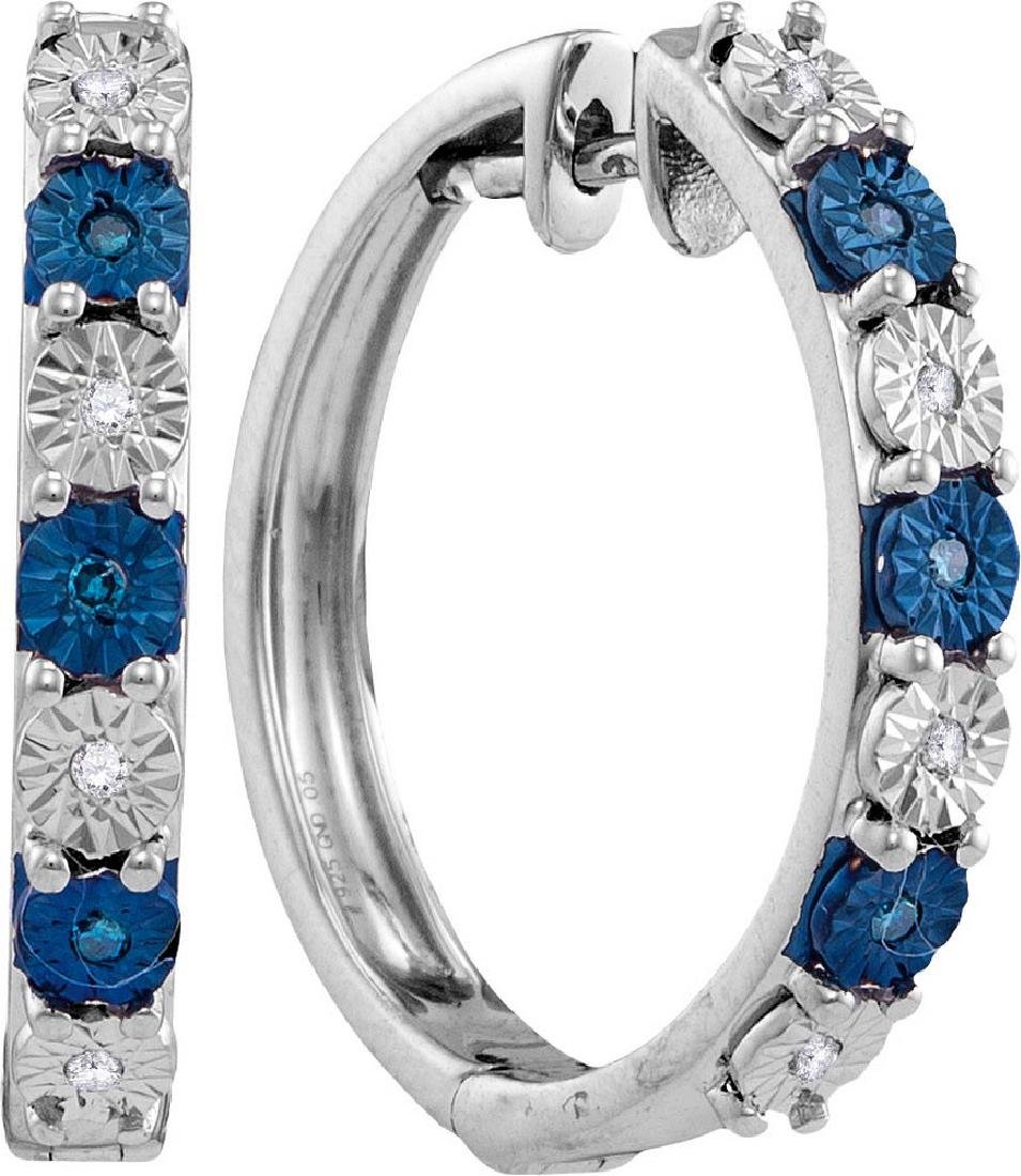 Sterling Silver Womens Round Blue Colored Diamond Hoop