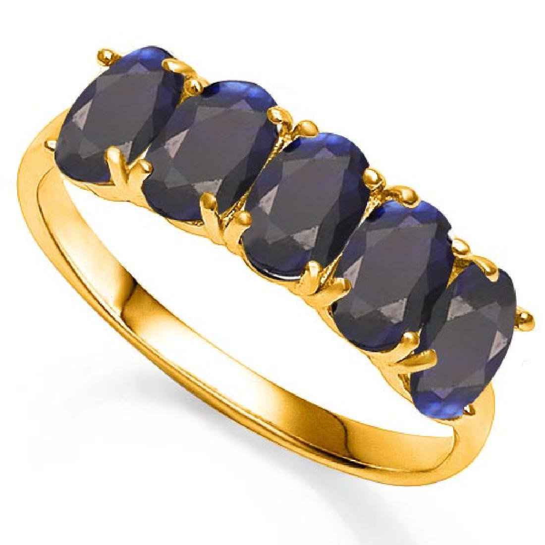 3.03 CT GENUINE BLACK SAPPHIRE 10KT SOLID YELLOW GOLD R