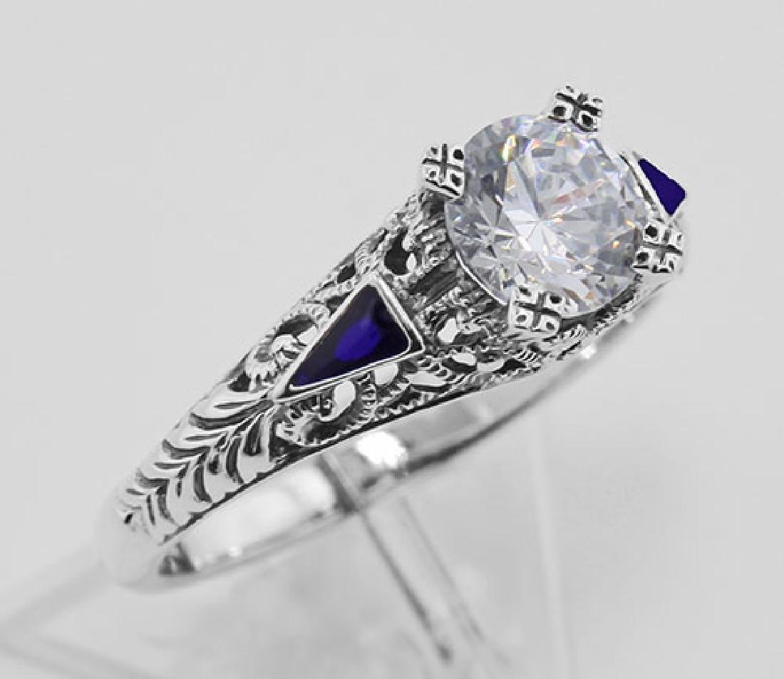 Filigree Ring w/ CZ / Enamel - Sterling Silver