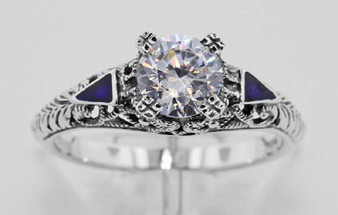 Filigree Ring w/ CZ / Enamel - Sterling Silver - 2