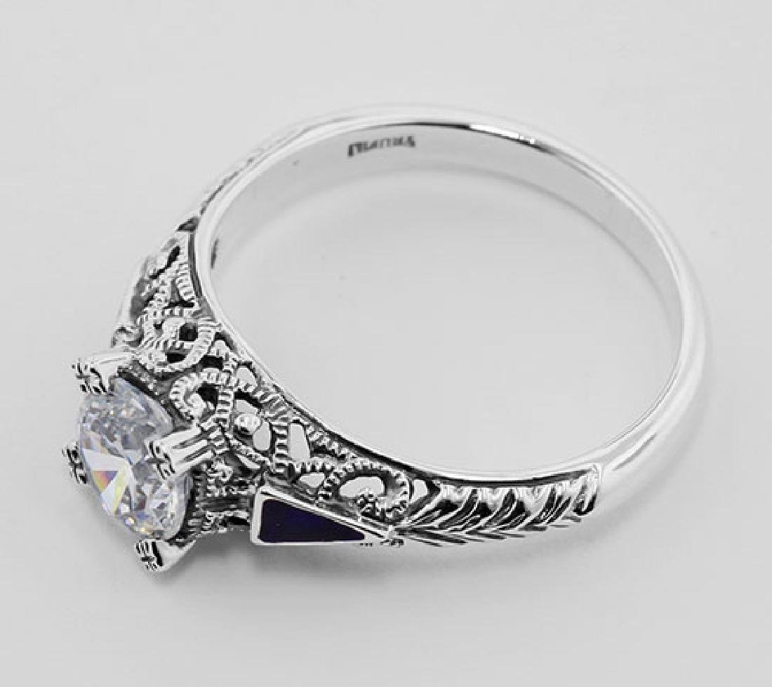 Filigree Ring w/ CZ / Enamel - Sterling Silver - 3