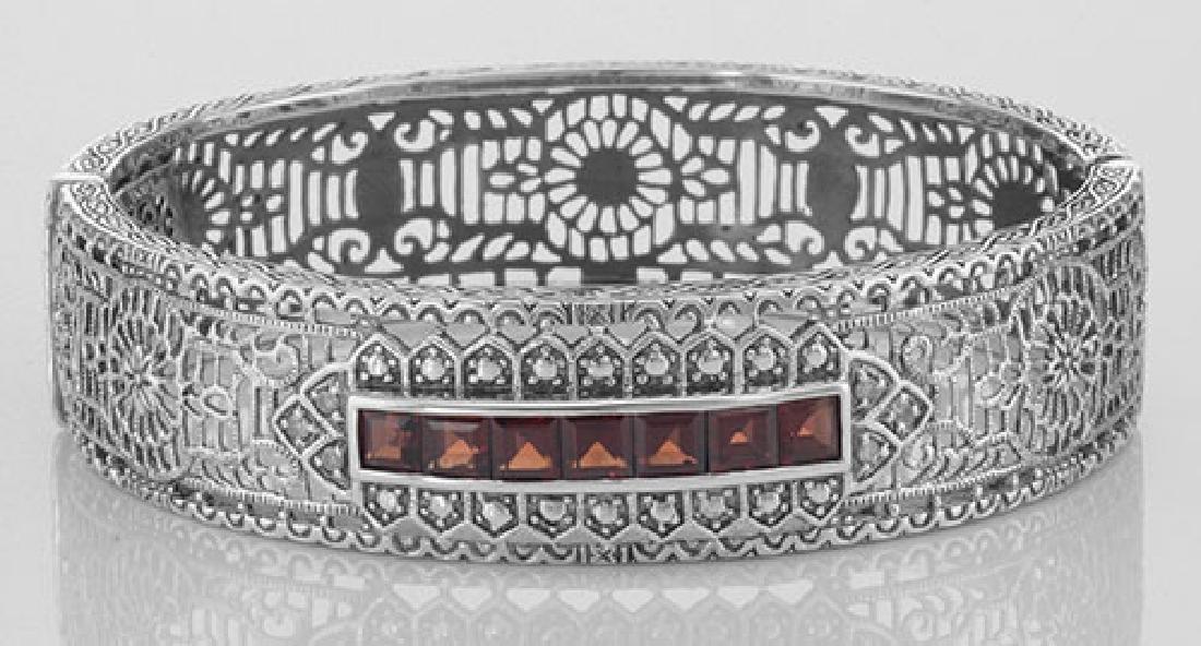 Art Deco Style Filigree Bangle Bracelet Garnet / Diamon