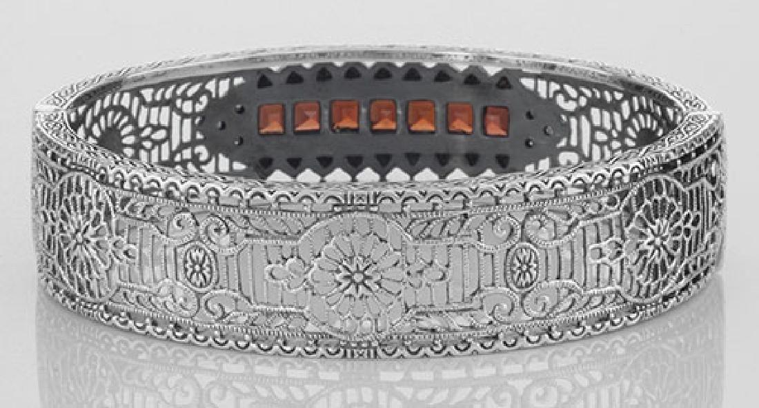 Art Deco Style Filigree Bangle Bracelet Garnet / Diamon - 2