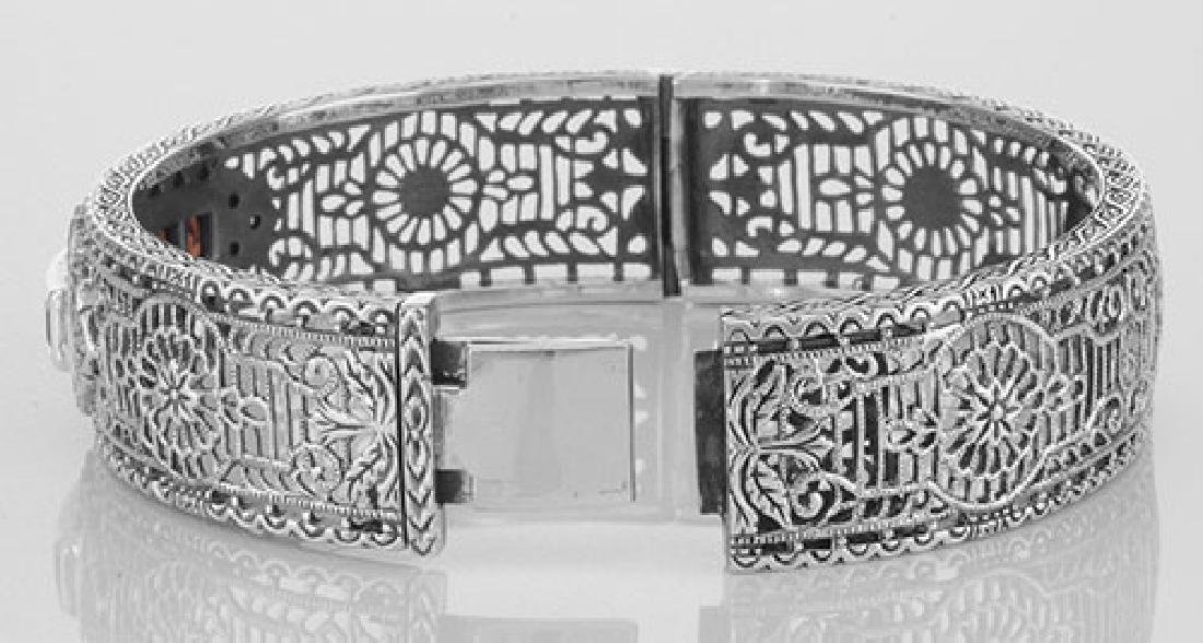 Art Deco Style Filigree Bangle Bracelet Garnet / Diamon - 3