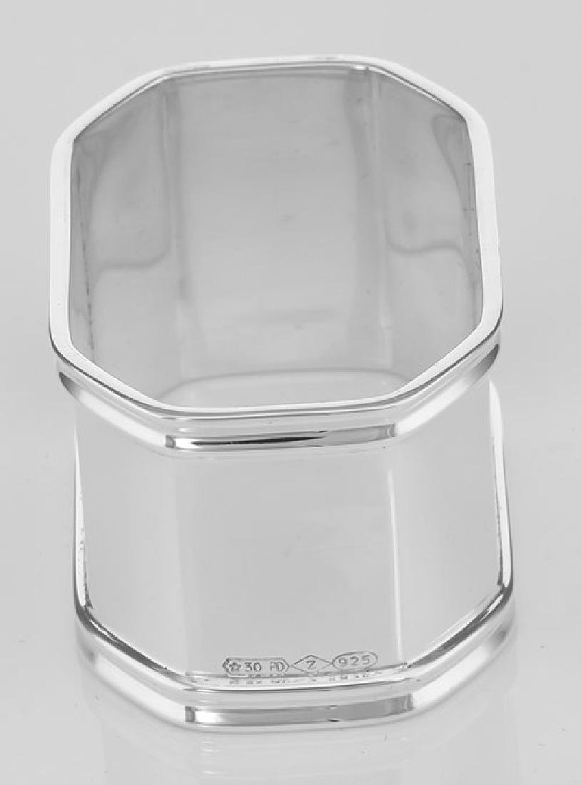 Sterling Silver Napkin Ring - Octagonal - Made in Italy - 3