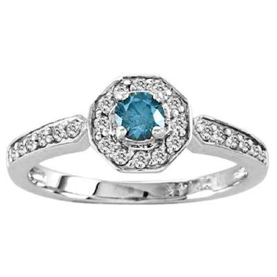 14k Gold ring with 0.50ct tw Blue & White Diamond