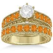 Diamond  Citrine Wedding and Engagement Ring Set 14k Y