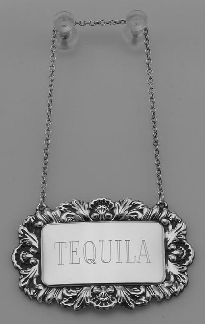 Tequila Liquor Decanter Label / Tag - Sterling Silver - 2
