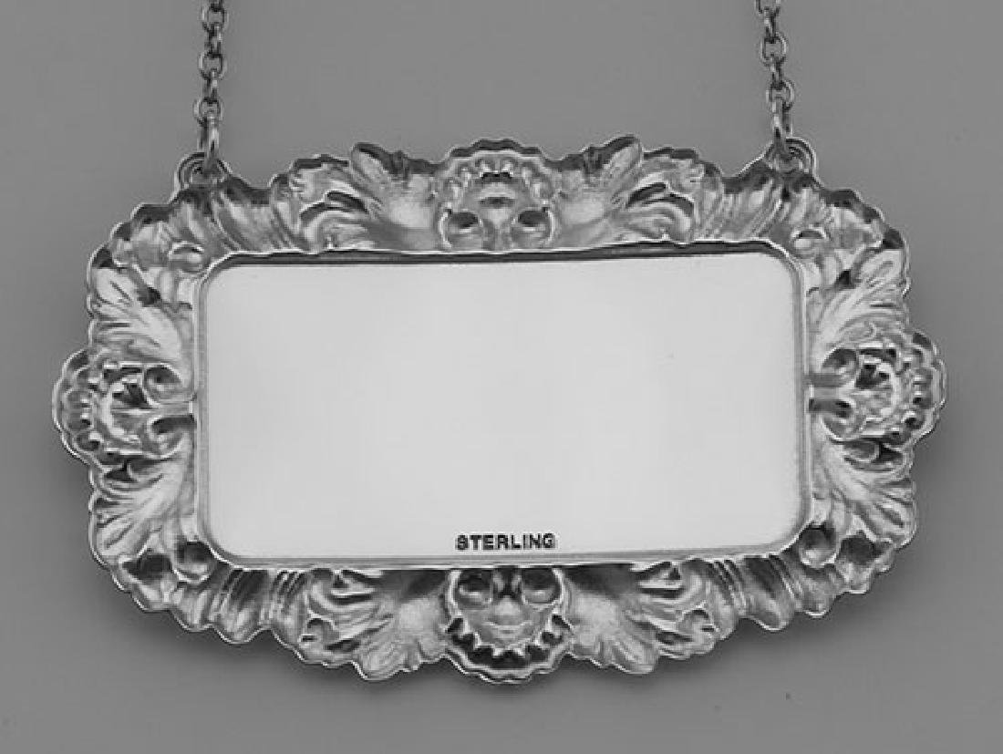 Tequila Liquor Decanter Label / Tag - Sterling Silver - 3
